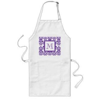 Your Monogram, Dark Purple Damask Pattern 2 Long Apron
