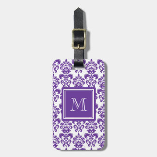 Your Monogram, Dark Purple Damask Pattern 2 Luggage Tag
