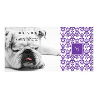 Your Monogram, Dark Purple Damask Pattern 2 Personalized Photo Card