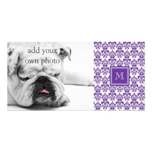 Your Monogram, Dark Purple Damask Pattern 2 Personalized Photo Card