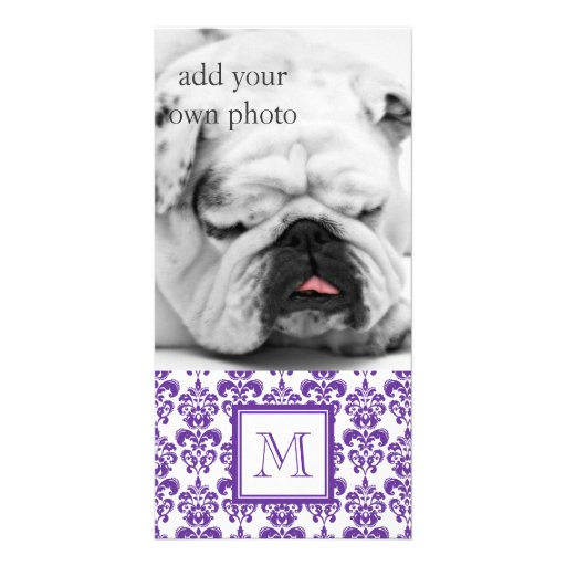 Your Monogram, Dark Purple Damask Pattern 2 Customized Photo Card