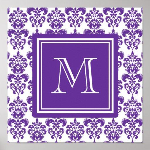 Your Monogram, Dark Purple Damask Pattern 2 Print