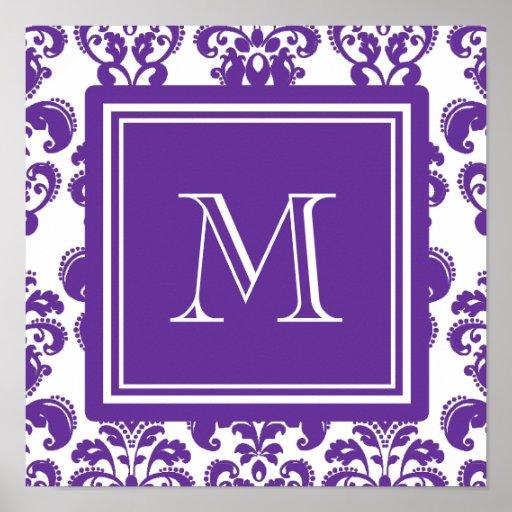 Your Monogram, Dark Purple Damask Pattern 2 Posters