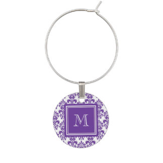 Your Monogram, Dark Purple Damask Pattern 2 Wine Glass Charm