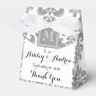 Your Monogram, Grey Damask Pattern 2 Favour Box