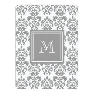 "Your Monogram, Grey Damask Pattern 2 6.5"" X 8.75"" Invitation Card"
