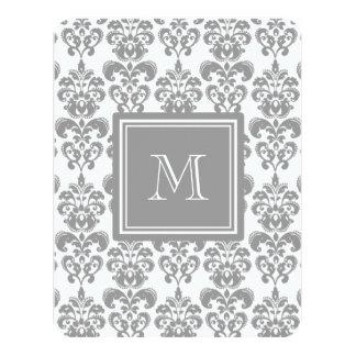 "Your Monogram, Grey Damask Pattern 2 4.25"" X 5.5"" Invitation Card"