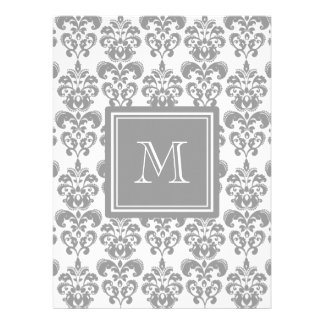 Your Monogram Grey Damask Pattern 2 Custom Invitation