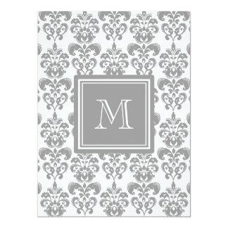 Your Monogram, Grey Damask Pattern 2 6.5x8.75 Paper Invitation Card