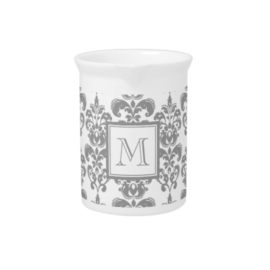 Your Monogram, Grey Damask Pattern 2 Pitchers