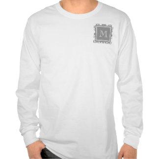 Your Monogram, Grey Damask Pattern 2 Tshirt