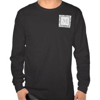 Your Monogram, Grey Damask Pattern 2 Tee Shirt