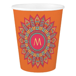 Your Monogram in a Boho Frame paper cups