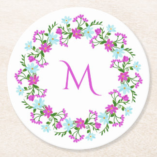Your Monogram in a Flower Frame paper coasters
