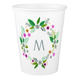 Your Monogram in a Flower Frame paper cups