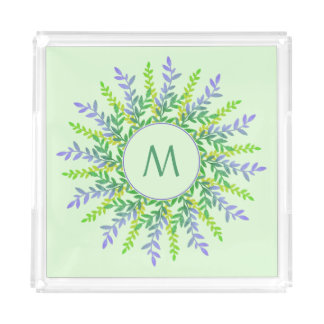 Your Monogram in a Leaf Frame serving trays
