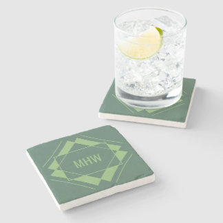 Your Monogram in Geometric Pattern stone coasters