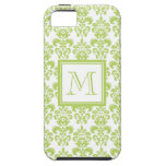 Your Monogram, Light Green Damask Pattern 2 iPhone 5 Cases
