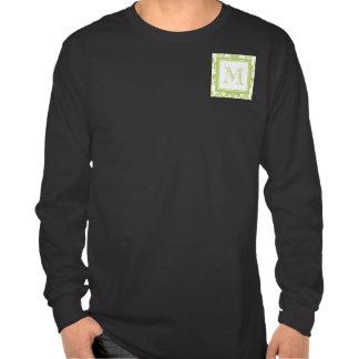 Your Monogram, Light Green Damask Pattern 2 Shirts