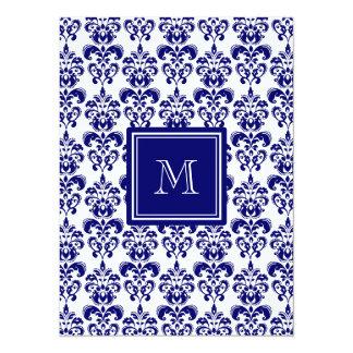 Your Monogram, Navy Blue Damask Pattern 2 14 Cm X 19 Cm Invitation Card