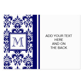 Your Monogram, Navy Blue Damask Pattern 2 Pack Of Chubby Business Cards