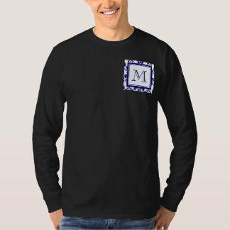 Your Monogram, Navy Blue Damask Pattern 2 T-Shirt