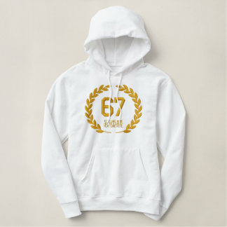 Your Monogram NUMBER Plus Text Laurels Embroidery Embroidered Hoodie