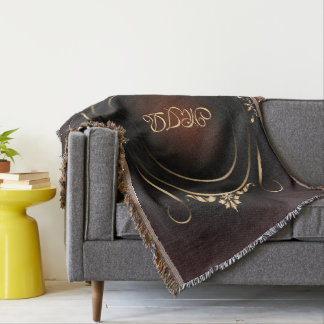 Your monogram on luxurious burgundy and gold throw blanket