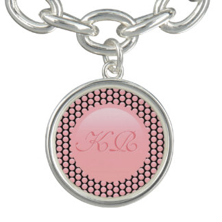 Your monogram on rose pink and black polka dots