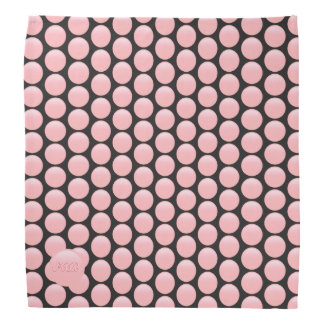 Your monogram on rose pink and black polka dots bandana