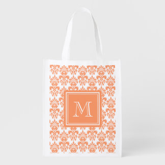 Your Monogram, Orange Damask Pattern 2    Product