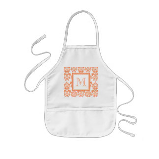 Your Monogram, Orange Damask Pattern 2    Product Aprons