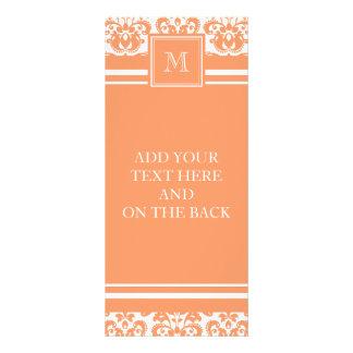 Your Monogram, Orange Damask Pattern 2    Product Rack Card Design