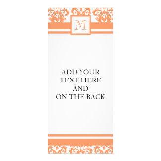 Your Monogram, Orange Damask Pattern 2    Product Rack Card Template