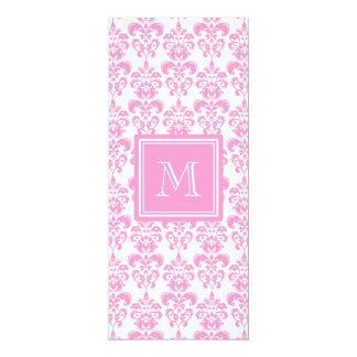"Your Monogram, Pink Damask Pattern 2 4"" X 9.25"" Invitation Card"