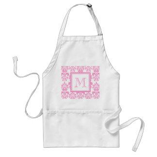 Your Monogram, Pink Damask Pattern 2 Standard Apron