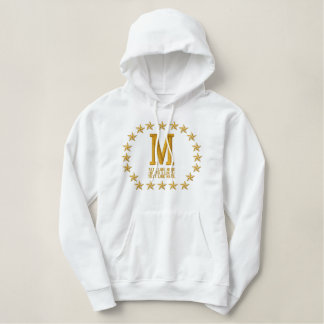 Your Monogram Plus Text Stars Embroidery Embroidered Hoodie