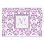 Your Monogram, Purple Damask Pattern 2