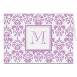 Your Monogram, Purple Damask Pattern 2 Cards
