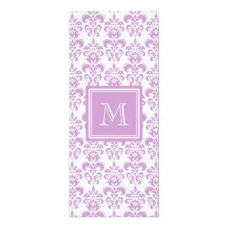 Your Monogram, Purple Damask Pattern 2 10 Cm X 24 Cm Invitation Card