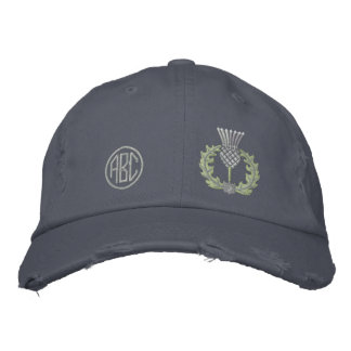 Your Monogram Scottish Thistle Scotland in silver Embroidered Hat