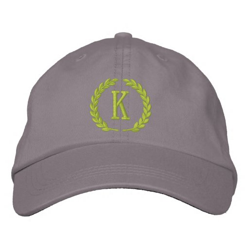 Your Monogram Single Cap Letter Laurels Embroidery Embroidered Baseball Cap