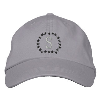 Your Monogram Single Cap Letter Stars Embroidery Embroidered Hats