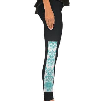 Your Monogram, Teal Damask Pattern 2 Legging Tights