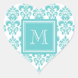 Your Monogram, Teal Damask Pattern 2 Heart Sticker