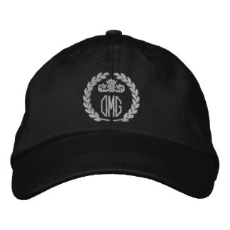 Your Monogram Up to 3 Letters Laurels Embroidery Embroidered Cap