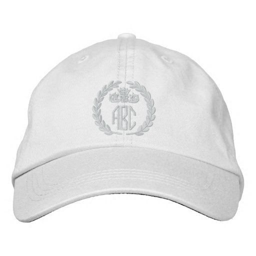 Your Monogram Up to 3 Letters Laurels Embroidery Baseball Cap