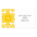Your Monogram, Yellow Damask Pattern 2 Pack Of Standard Business Cards