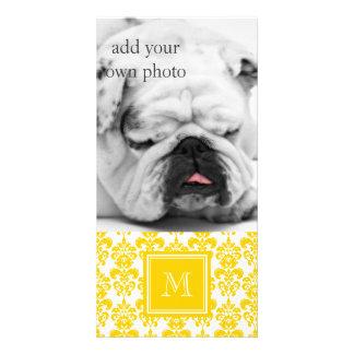 Your Monogram, Yellow Damask Pattern 2 Customised Photo Card