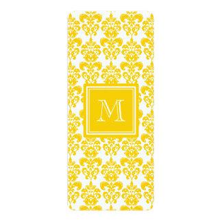 Your Monogram, Yellow Damask Pattern 2 10 Cm X 24 Cm Invitation Card